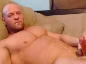 Bald Bodybuilder Self Facial On Cam