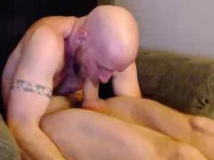 Fit Bald Guy Self Sucks And Cums In Mouth