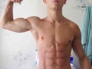 Fit Gay Boy Flexing In Bathroom