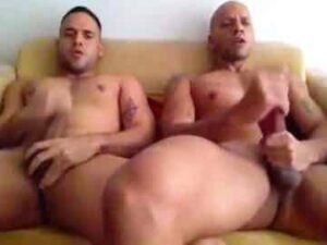 Muscle Gay Couple Masturbating Together