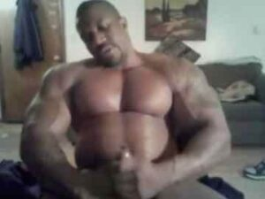 Straight Black Bodybuilder Playing With His Big Thick Cock