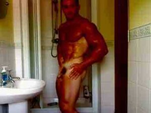 British Bodybuilder Taking Shower And Flexing
