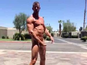 Muscle Cam Stud Strips Naked, Flexes And JO In Public