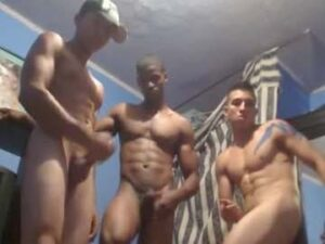 Four Fit Gay Men Pose Naked And Masturbate Live