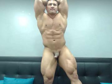 Gay Bodybuilder Muscle Flexing Webcam Room